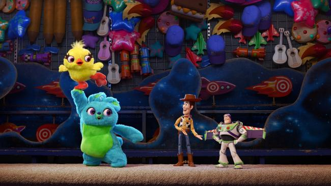 Woody and Buzz meet Ducky and Bunny