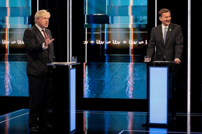 From left: Conservative party leadership candidates Boris Johnson and Jeremy Hunt, during a head-to-head debate hosted by ITV. Image: Matt Frost/ITV/PA Wire