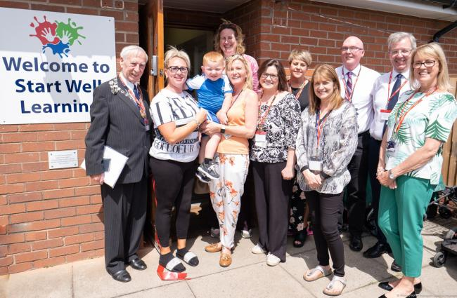 MP Antoinette Sandbach, Winsford deputy mayor Cllr Don Beckett, Cllr Mike Baynham, representatives from Cheshire West and Chester Council and local businesses joined children, parents and staff to celebrate the opening of Start Well Learning Mini's ne