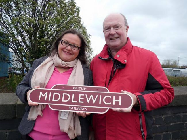 From left: Mid Cheshire Rail Link campaign secretary Samantha Moss and chairman Stephen Dent