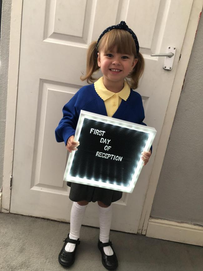Annabelle Griffiths First day of big school Wharton CE Primary School