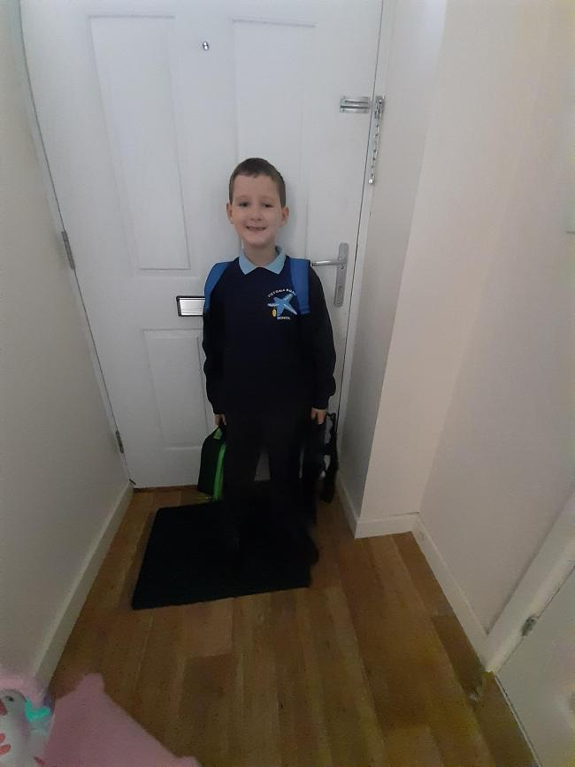 Connor deakin going in to year 3 Victoria road primary school