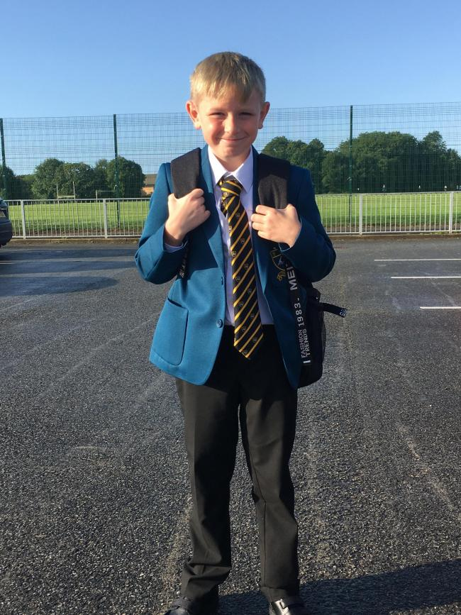 Alfie Tompsett aged 11 from Barnton starting his first day at St. Nicholas