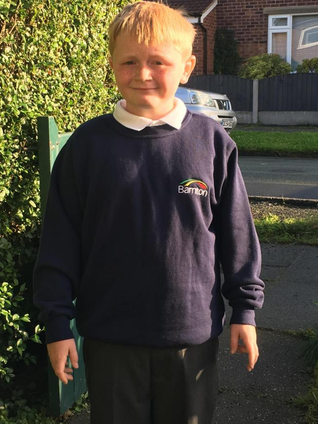 William Tompsett going into year 5 at Barnton Primary, first day without his brother who has gone to high school