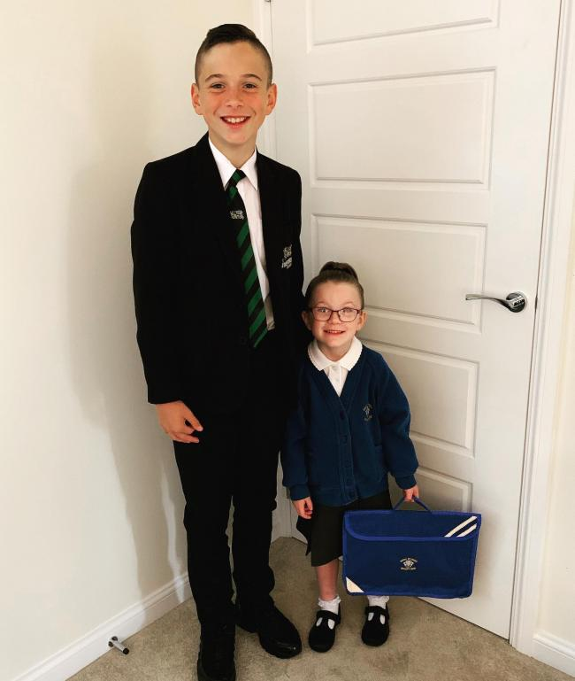 Khia Blackmore's 1st day in reception at High Street Primary School!   Khia with her big brother Tyler who started year 7 at The Academy yesterday!
