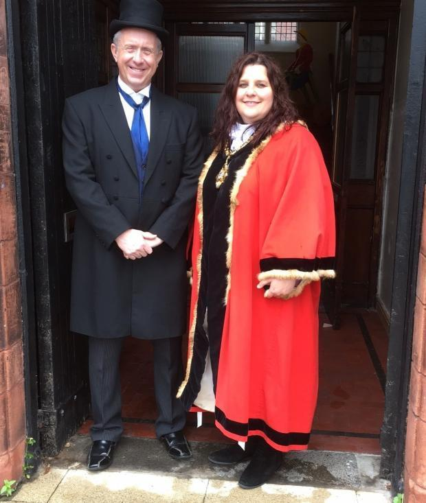 Winsford Town Council clerk Mark Bailey and mayor Cllr Ailsa Gaskill-Jones celebrating the life of benefactor Sir John Brunner at the Brunner Guildhall earlier this year