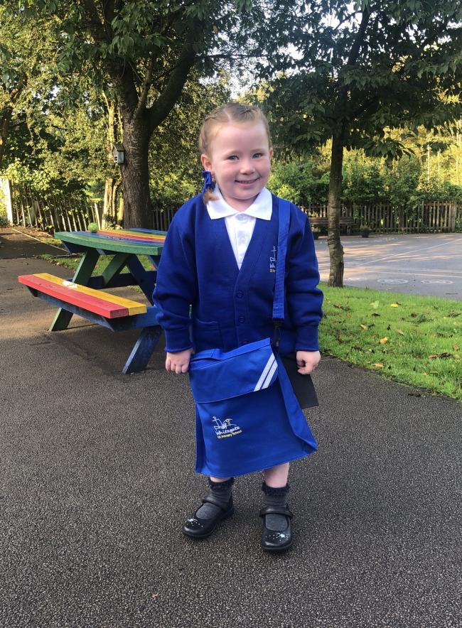 Esmé age 4, first day in Reception at Whitegate Primary