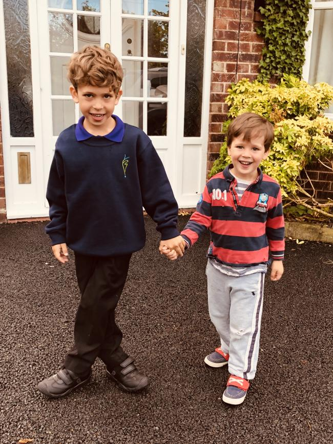 Isaac Birkett's first day in Yr 1 at Kingsmead Primary School. Pictured with his little brother Jackson, who is in Pre-School at Busy Bees 🐝