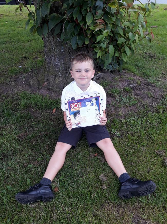Tyler Williams Age 7 first day year 3 St Bedes School Weaverham  Last two pictures show Tyler finding books hidden around Weaverham ( Northwich look for a book )