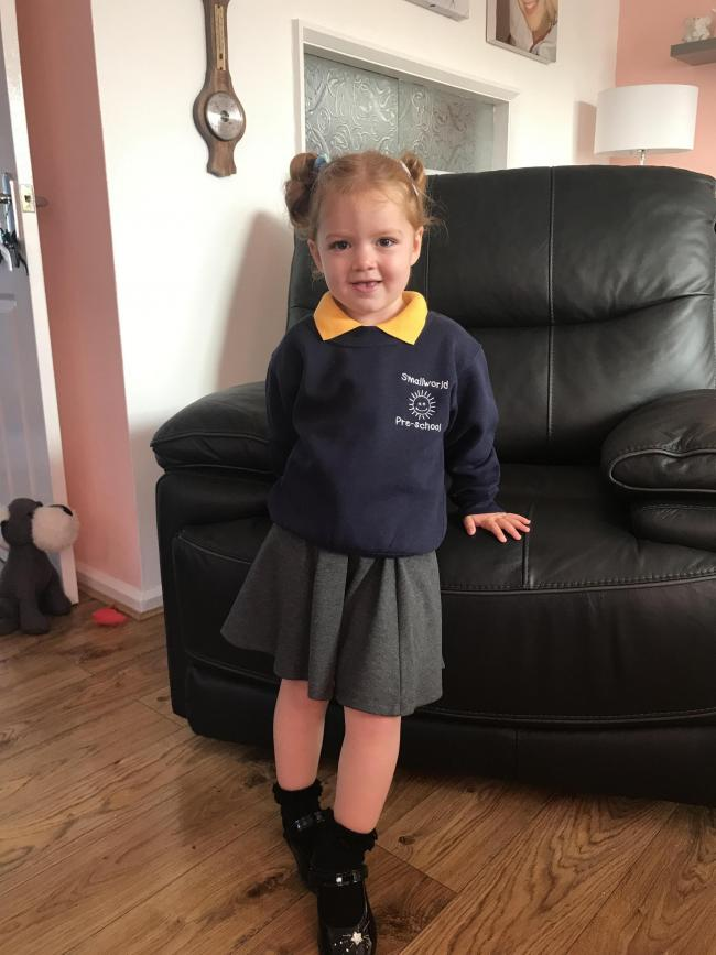 Lily Mae first day at Small World Pre School