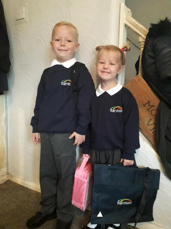 Bobby and layla woodward first day back at barnton community primary and nursery school