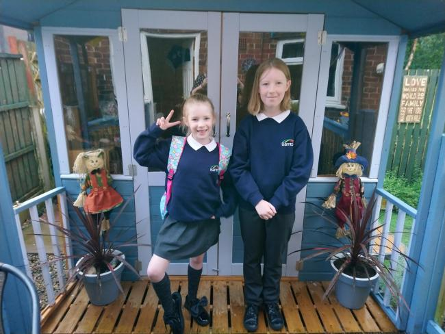 Cali and Lexi Johanson ready for year 6 and year 3 at Barnton Community Nursery Primary School.