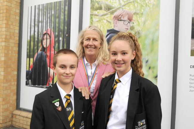 Winsford Academy student Thomas Clare, Cllr Louise Gittins and Sophie Rogers