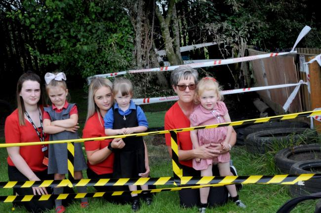 St Chad's Pre School staff and pupils after the arson attack, Ellie Oakes, Honey Williamson, Sophie Roberts, Alice Deeley, Karen Thompson and Amela Newton.