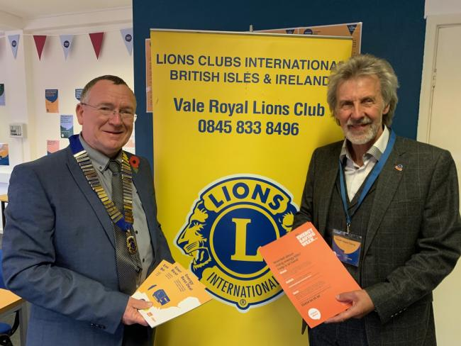 Andy Benson from Vale Royal Lions and Geoff Hope-Terry, chairman of trustees for Citizens Advice Cheshire West
