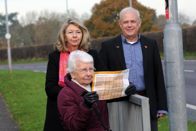 Vera Roddy (front), who has been left cut off by the 42 bus route change, with Cllr Carol Bulman and Cllr Graham Orme