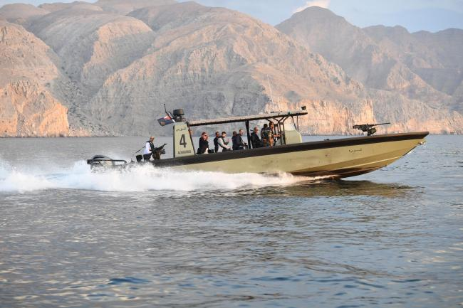 The Duke of Cambridge on the water in a royal navy of Oman vessel during a visit to the Ras Musandam Naval Base