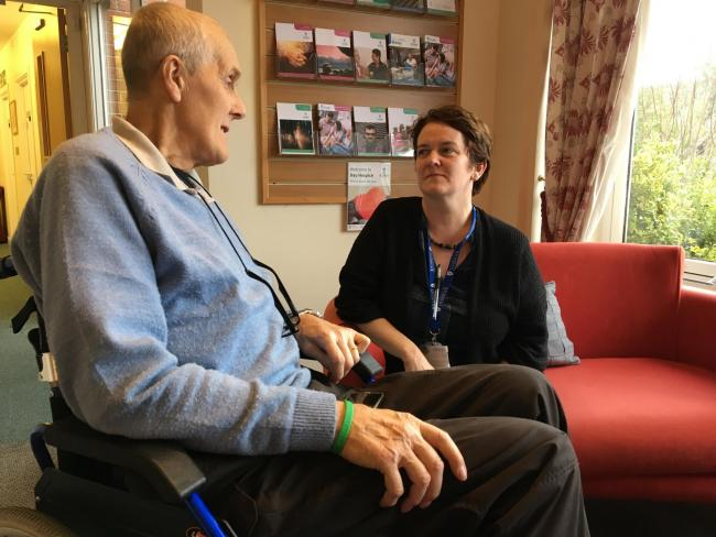 Patient Ken May talks to research assistant Dr Cath Lunt in St Luke's Day Hospice