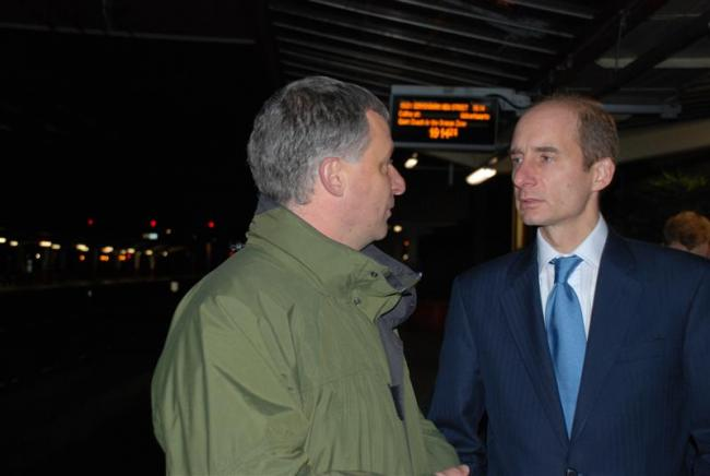 David Williams meets Lord Andrew Adonis at Crewe station.