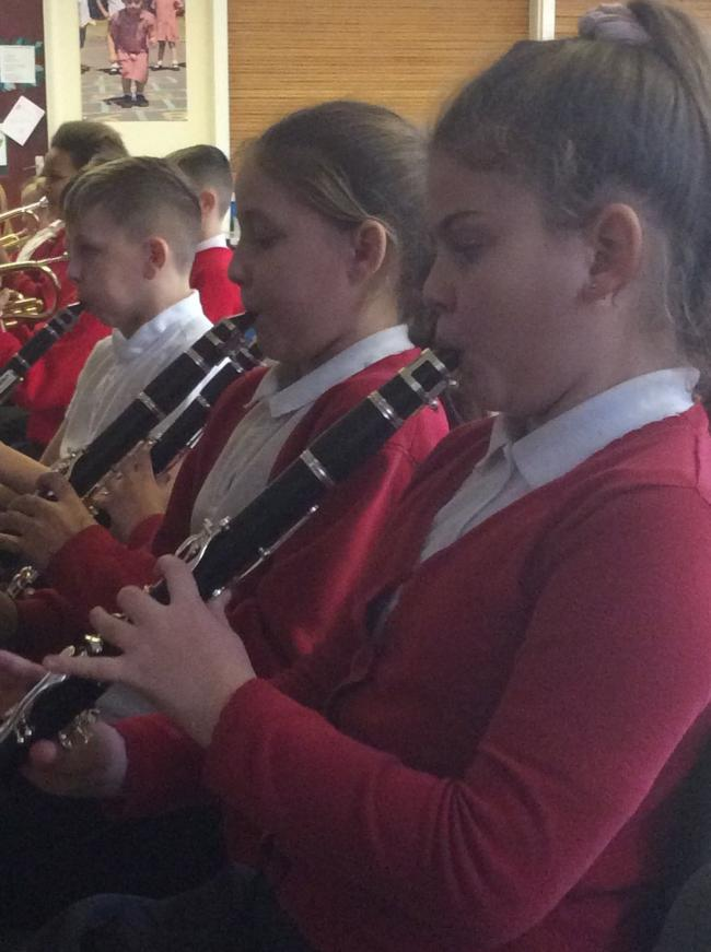 Year 5 Willow Wood musicians rehearsing for their debut concert