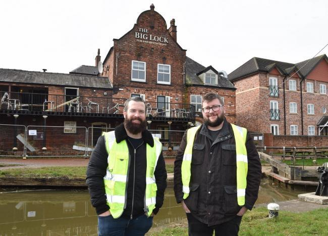 Big Lock licensee Neil Sparkes and Dennis Cleary, Priory Inns north west area manager check up on the refurbishment work at the Middlewich canalside pub