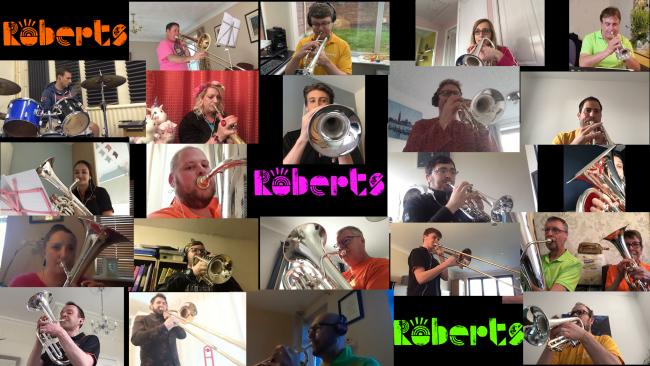 Roberts Bakery band members during their virtual performance