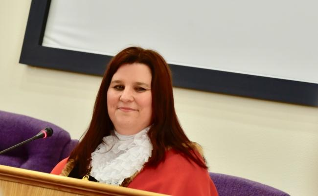 Winsford mayor Cllr Ailsa Gaskill-Jones will stay on until public meetings can be held to hand over to her successor
