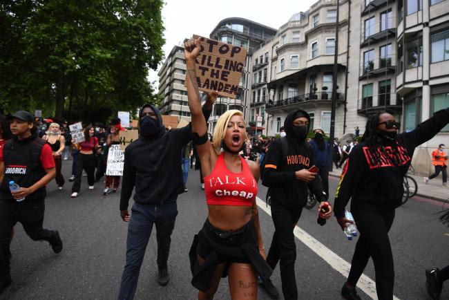 A Black Lives Matter protest rally in London, in memory of George Floyd. Image: Victoria Jones/PA Wire