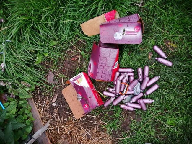 Laughing gas is no laughing matter, warn police, as more discarded cannisters were found in Sutton Lane fields by litter picker Anne Russell