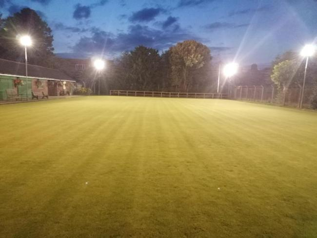 New floodlights have brightened up Wharton Recreation Bowling Club green