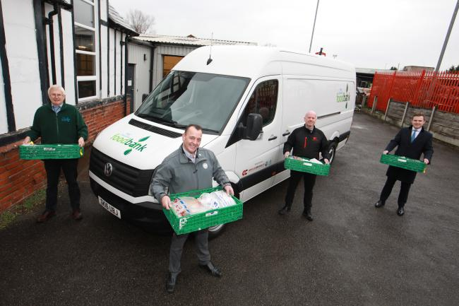 From left: Rodger Spurling of Mid Cheshire Foodbank, Gary Doherty of TPS, Mark Newnes, Managing Director of C&C, and Jake Ankers, trustee of The Holroyd Foundation. Image: Professional Images