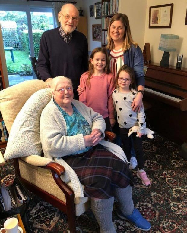 Winsford Guardian: Geoffrey and Irene at home with granddaugher Helen and great grandchildren Lucy and Emma