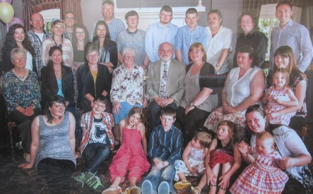 Winsford Guardian: Geoffrey and Irene with their family on her 80th birthday