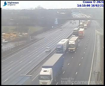 Traffic building approaching the incident. Image: Highways England/trafficcameras.uk