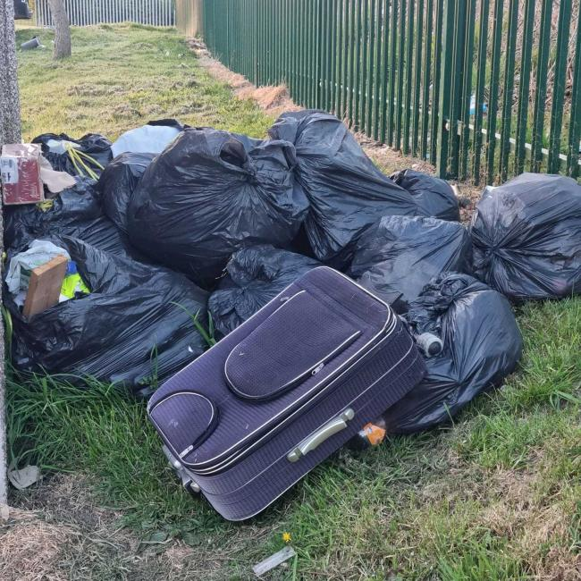 Flytipping behind homes in Bollin Avenue, Winsford