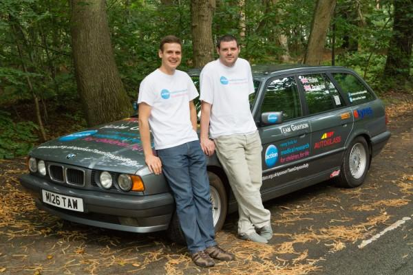 Greg Bolshaw (left) and Nigel Hulse (right) with their banger - a 17-year-old BMW 520i Touring. Pic by Martin Pawlett Photography