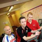 l-r Alex Waring alongside 16-year-old students Dean McNamara and Maz Hunter, who have been helping out with the 1,000 Land's End to John O'Groats challenge.