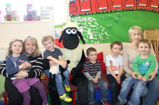 Della Bunney from squirrels pre-school, Superlamb from Ewemove.com, Lyn Withinshaw with children from the pre-school