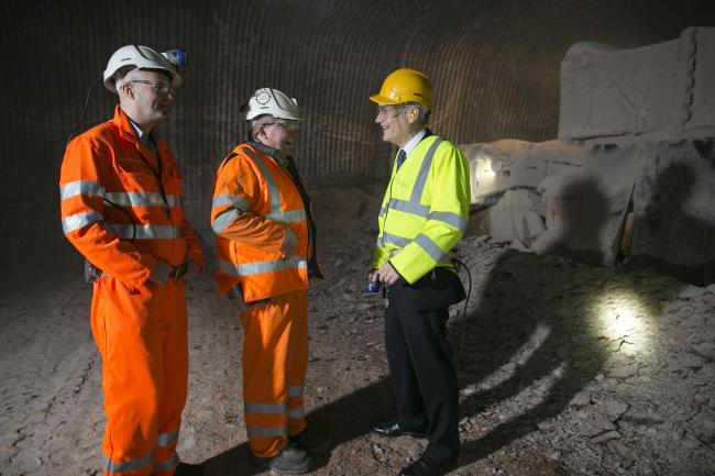 From left, Chris Heywood, head of sales and logistics at Compass Minerals, James Nobletts and Andrew Jones MP at Winsford rock salt mine (© www.philtragen.com) (44402041)