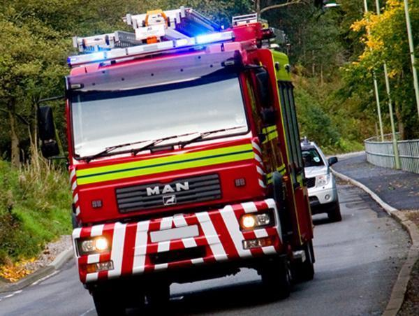 Van engine catches fire on petrol station forecourt