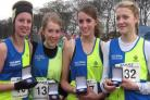 Vale Royal's under 17s girls, from left, Nikki Meadows, Charlotte Mills, Kathy Stringer and Rebecca Craigie won team gold at the Northern Cross Country Championships in 2009