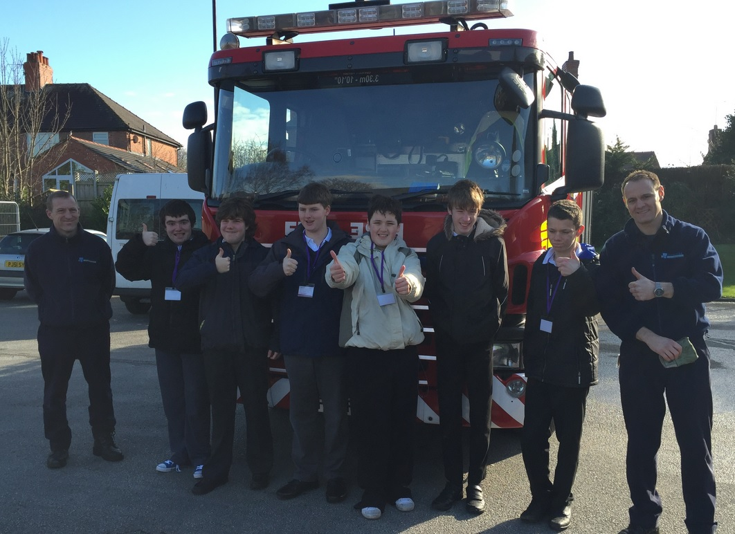 Pupils with firefighters Steve Tucker, left, and Danny Meeks