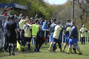 Winsford Saxons, pictured following last season's Mid-Cheshire District FA Challenge Cup final, had reason to celebrate again on Saturday