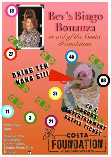 Bev's Bingo Bonanza in aid of the Costa Foundation