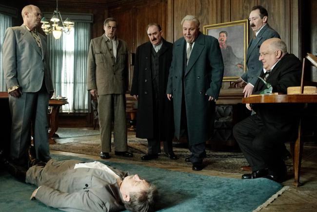 Steve Buscemi as Nikita Khrushchev, Jeffrey Tambor as Georgy Malenkov, Adrian McLoughlin as Joseph Stalin, Dermot Crowley as Lazat Kaganovich, Paul Chahidi as Nikolai Bulganin, Paul Whitehouse as Anastas Mikoyan and Simon Russell Beale as Lavrentiy Beria