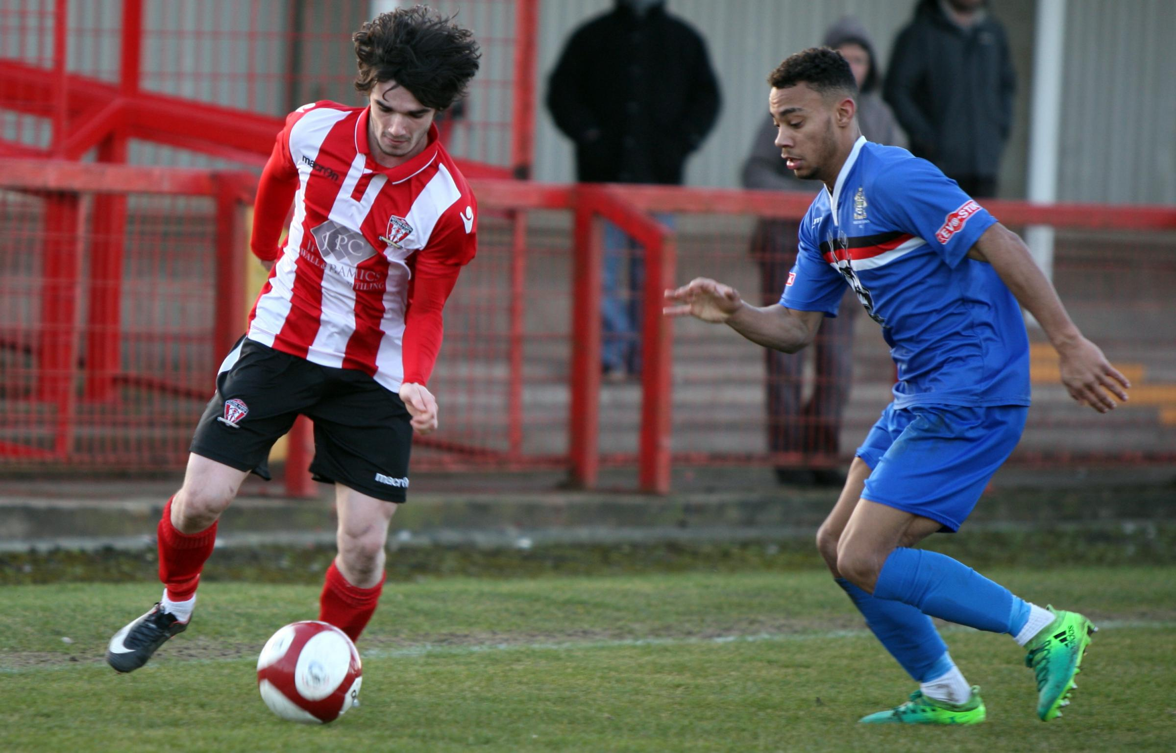 Danny McKenna and his Witton Albion teammates resume their bid to reach the promotion play-offs when Shaw Lane visit this weekend. Picture: Keith Clayton