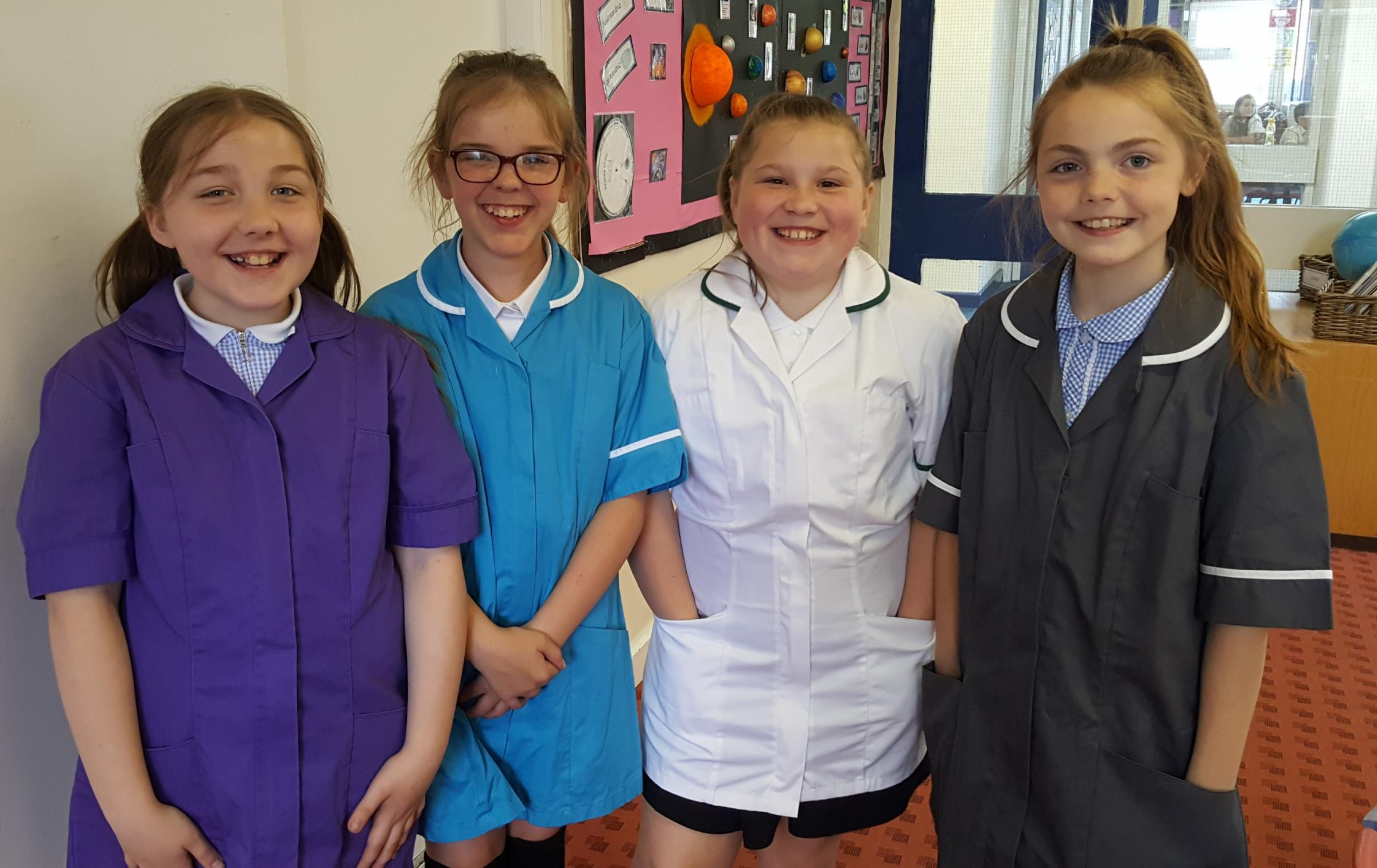 Year 5 pupils Eve Boughey, Caydee Shaw, Kaelyn Clarke and Ellie Billinge.