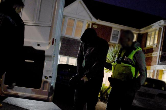 A police raid in Widnes in September last year as part of a suspected county lines gang operating in the Warrington area.