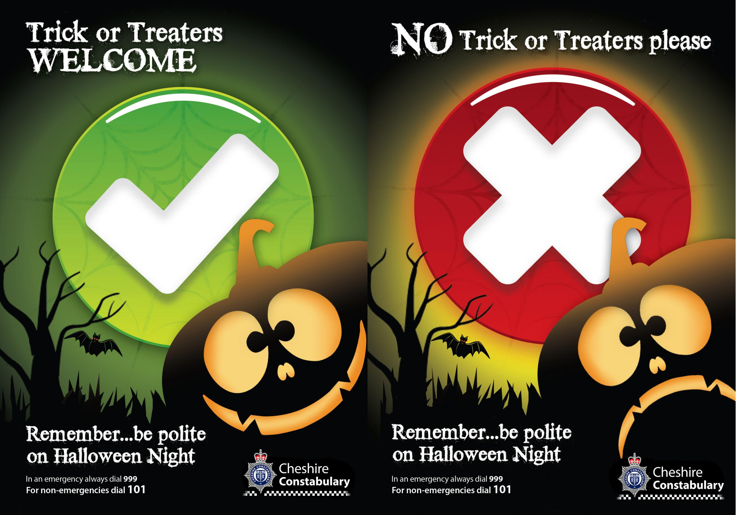 Residents can download a poster to put in their windows to let trick or treaters know if they are welcome to knock or if they prefer to be left in peace