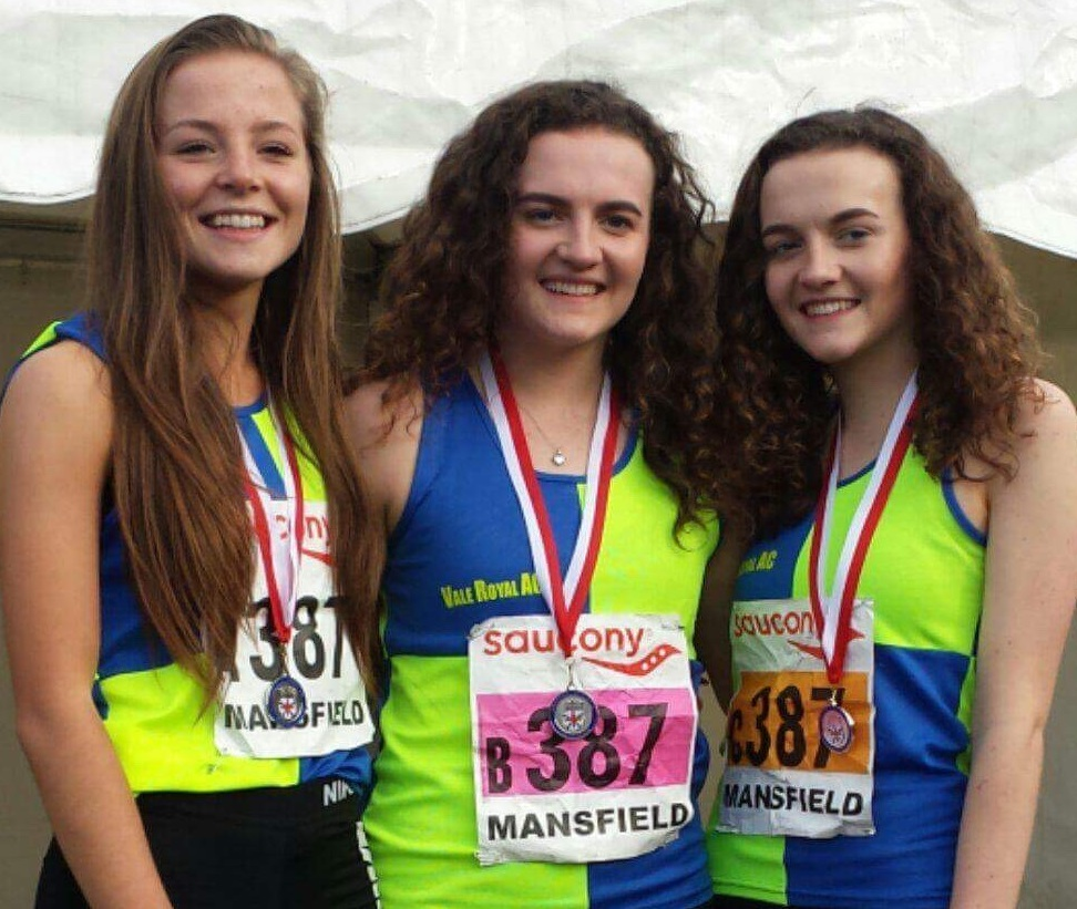 Emily Lowery, left, Lucy and Holly Smith, right, won a silver medal for Vale Royal at last year's English Cross Country Relays. Picture: Rob Brown/Vale Royal AC